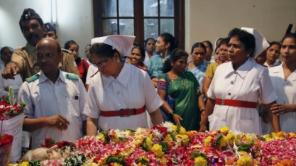 The nurses at King Edward Memorial's Hospital at Aruna Shanbaug's funeral.